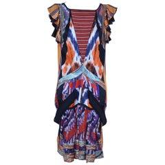 Balenciaga  Nicolas Ghesquière  Runway 2007 Silk Ikat Print Dress  36