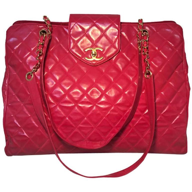 Chanel Red Quilted PVC Model Overnight Tote Travel Bag