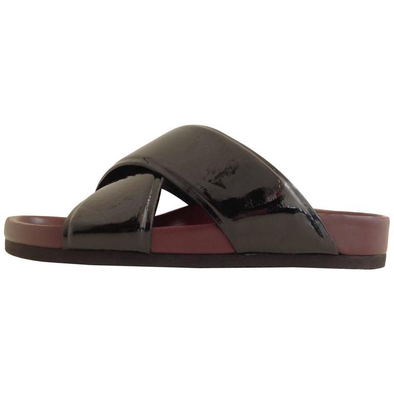 Celine Black and Burgundy Slides Size 37 (6.5)