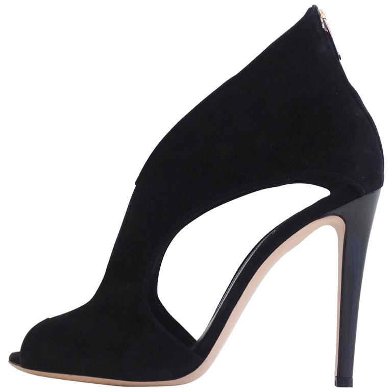 Gianvito Rossi Black Suede Cutout Heels Size 39 (8.5)