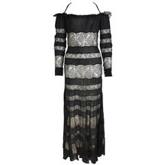Jacques Molko Couture Black And Nude Silk Lace Maxi Dress