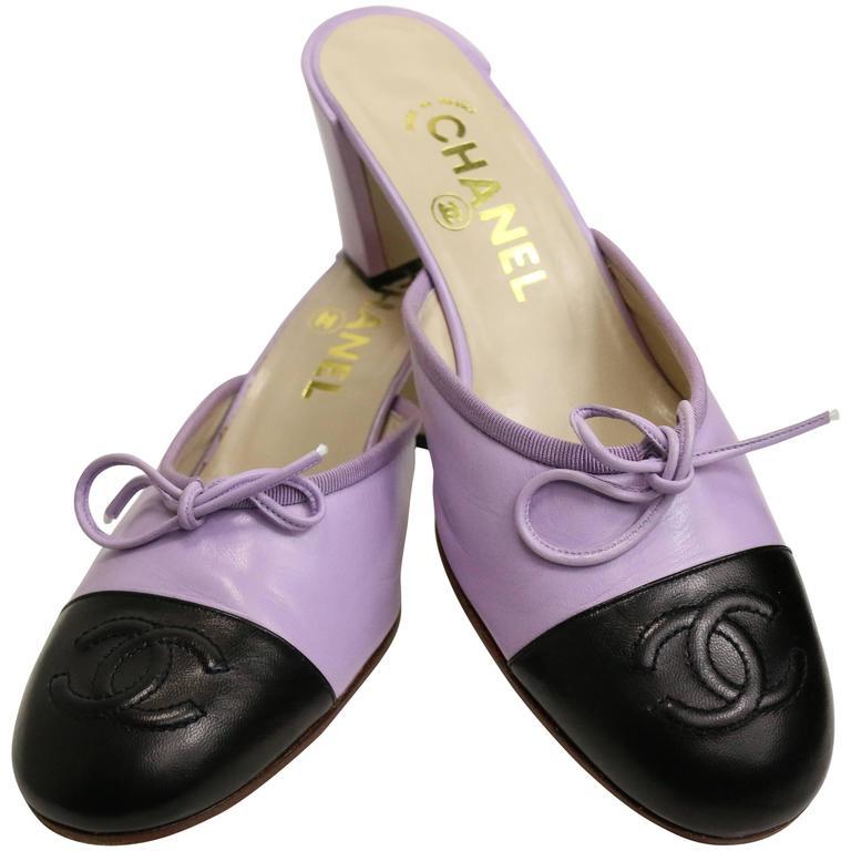 Chanel Bi Tones Purple/Black Mules