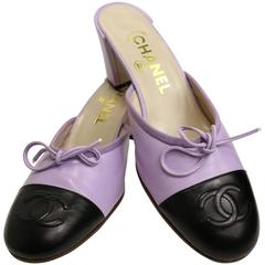 Chanel Bi Tones Purple/Black Mules