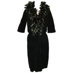 1960's Bob Bugnand Couture Black Velvet Sheath Dress and Feather Bolero Jacket