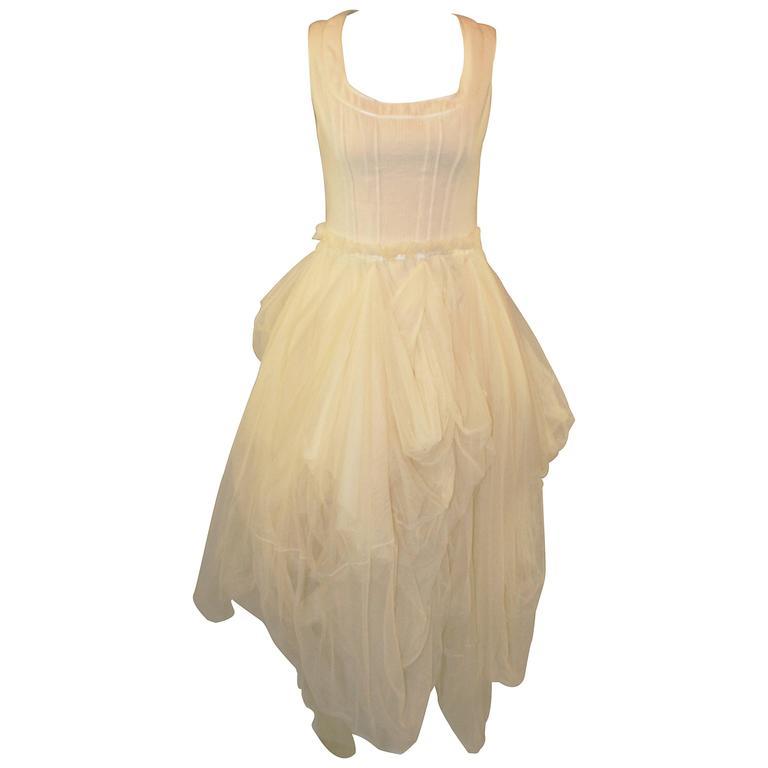 S/S 1994 Dolce & Gabbana Runway Ivory Grunge Ballerina Tulle Gown Dress