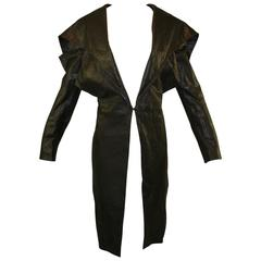 NWT S/S 2009 Runway Alexander McQueen Avant Garde Long Black Leather Jacket Coat