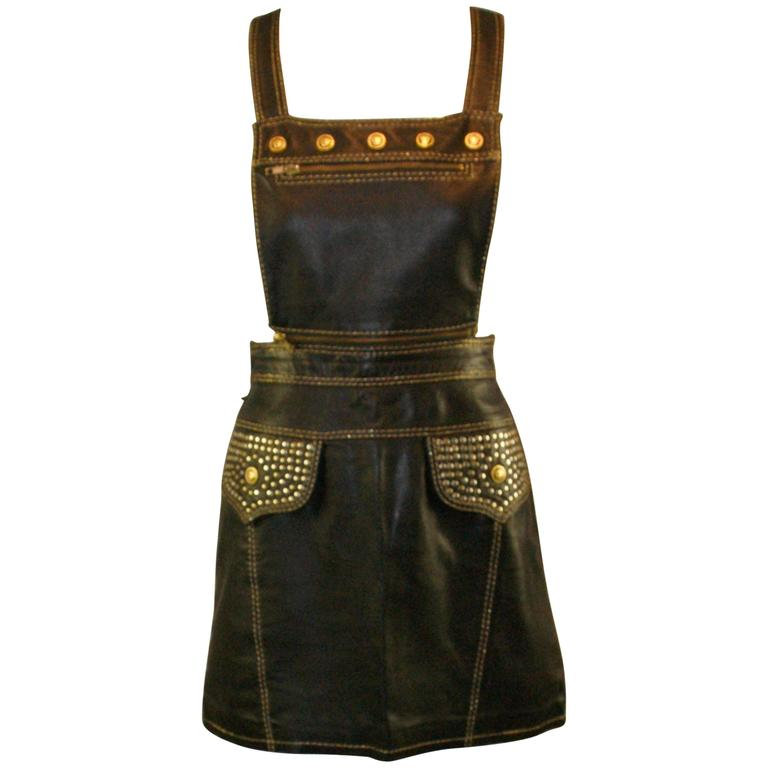 S/S 1992 Gianni Versace Couture Studded Black Leather Pinafore Mini Dress 38 1