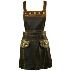 S/S 1992 Gianni Versace Couture Studded Black Leather Pinafore Mini Dress 38