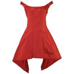 S/S 2002 The Dance of the Twisted Bull Alexander McQueen Red Off Shoulder Dress