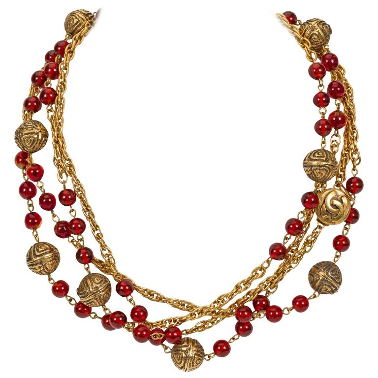 1980's Chanel Red Gripoix Necklace 1