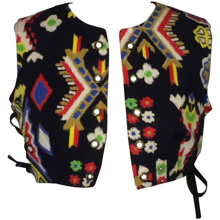 Oscar de la Renta Boutique Vintage 1970s Cropped Ethnic Print Vest 1