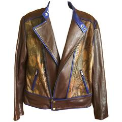 Gucci by Tom Ford Brown Leather & Snakeskin Mens Moto Jacket