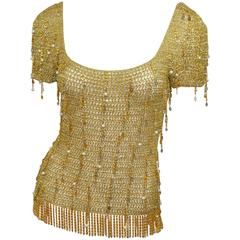 Loris Azzaro 1970s Vintage Gold Knit Chain Top