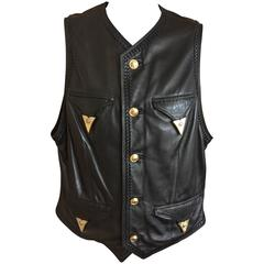 Gianni Versace Mens Black Leather Vest with Whipstitch Trim and Gold Accents
