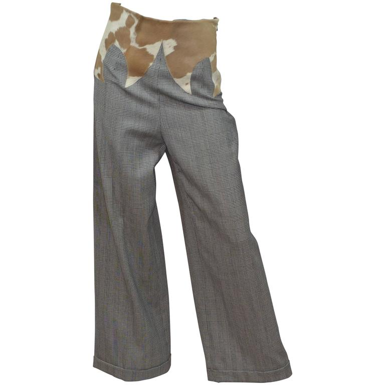 Dolce & Gabbana Western High Waist Plaid Pants