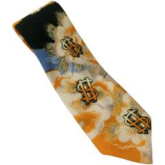 Schiaparelli 1970s Psychedelic Dollar Signs Yellow and Blue Wide Neck Tie