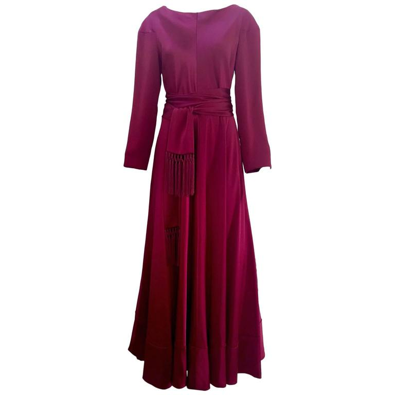 1970s Jean Patou plum silk charmeuse gown with sash