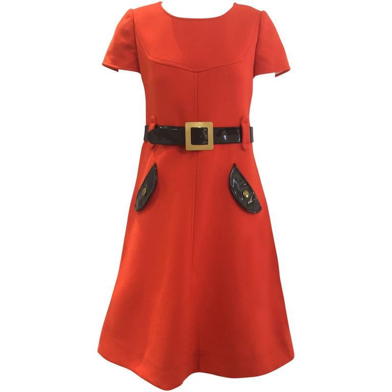 1960s Courreges orange wool mod dress