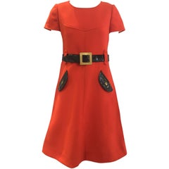 1960s Courreges orange wool mod dress
