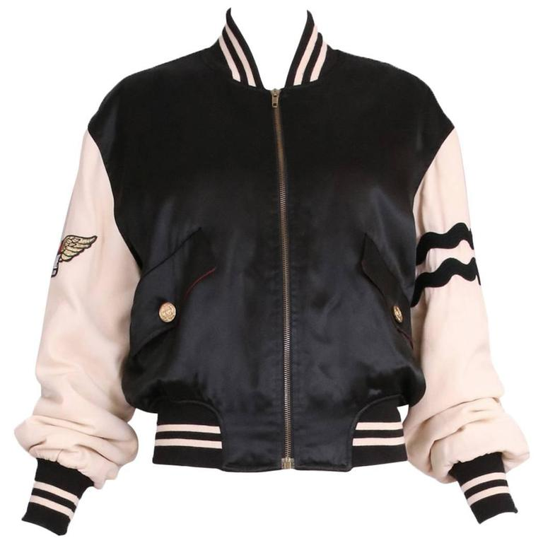 """Vintage Moschino Cheap & Chic """"4 Your Eyes Only"""" Varsity Bomber Jacket 1"""