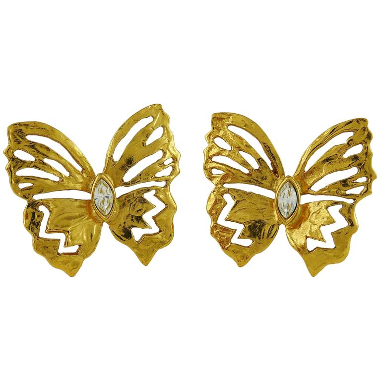 Yves Saint Laurent YSL Jewelled Butterfly Clip-On Earrings For Sale