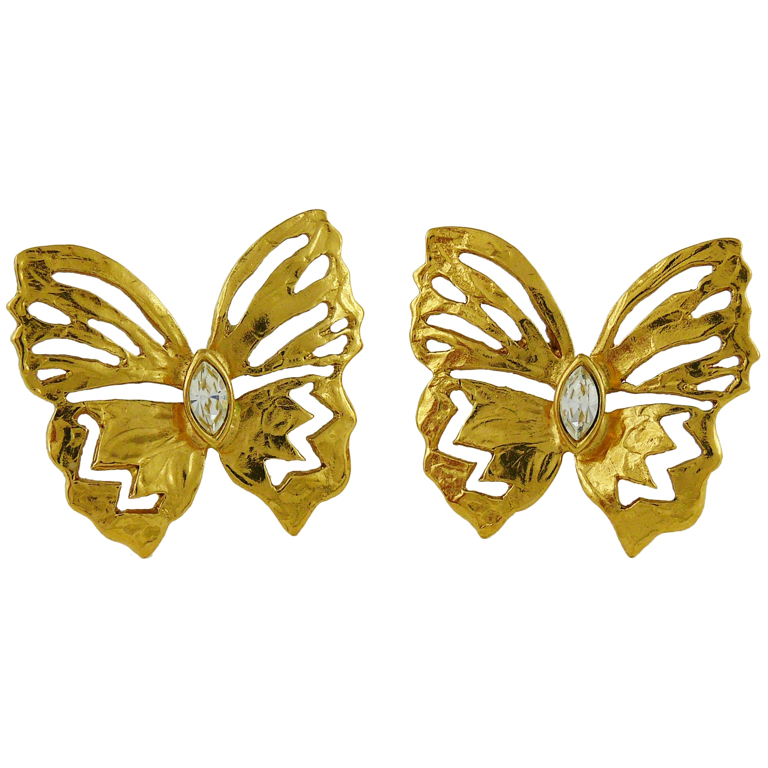 Yves Saint Laurent YSL Jewelled Butterfly Clip-On Earrings For Sale ...