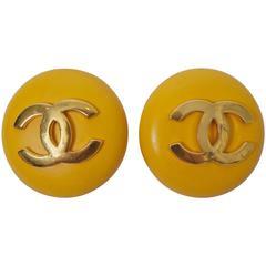 Chanel Yellow Button Earrings