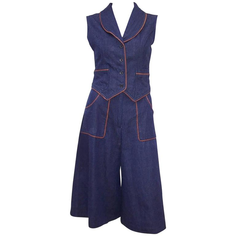1970s Denim Gaucho Pants & Vest Suit