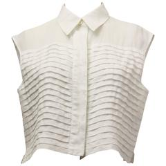 80s Chanel Pleated Front Midi Blouse