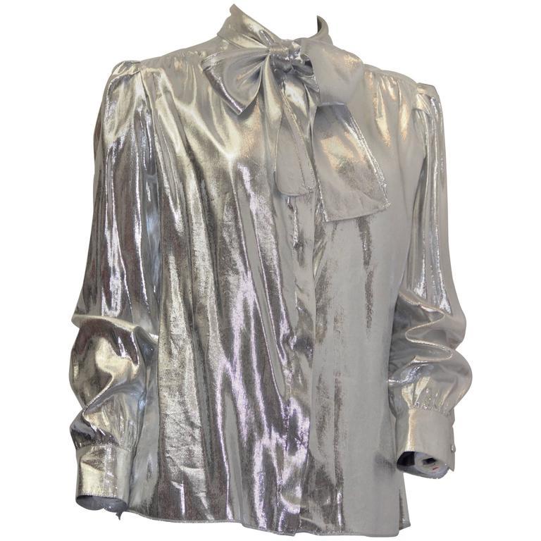 80s St John Metallic Bow Collar Blouse For Sale