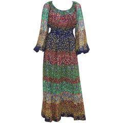 1970s Miss Elliette Dark Floral Maxi Peasant Dress