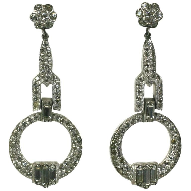 Art Deco Crystal Paste Pendant Earrings For Sale