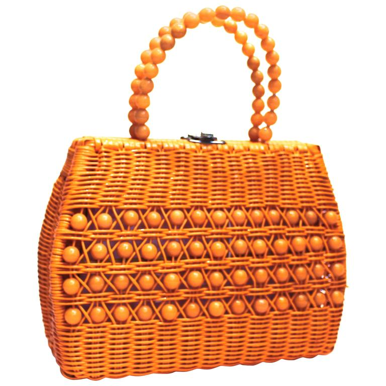 60's Woven Basket Purse For Sale