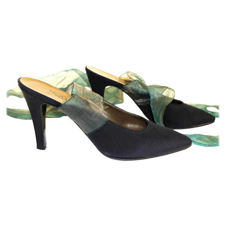 70s Yves Saint Laurent Mules with Ribbon Ties
