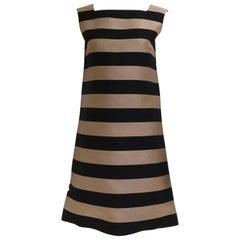 1960s Lord & Taylor mocha and black stripe silk shantung dress