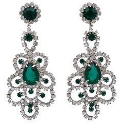 Hattie Carnegie Emerald Chandelier Earrings