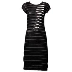 Armani Graphic Striped Knit Dress with Origami Chevron Pleats