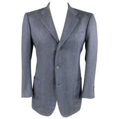 Vintage KITON Men's 40 Regular Blue Textured Cashmere Three Button Sport Coat