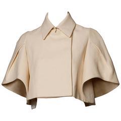 Delpozo Unworn with Tags Cream Paper Silk Architectural Cape Jacket