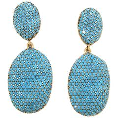 Turquoise Blue Crystal Rococo Pebble Earrings by JCM