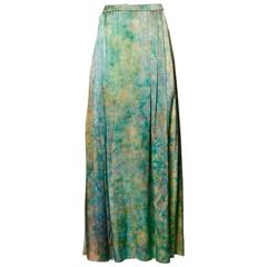 Vintage Hand Painted Silk Maxi Skirt