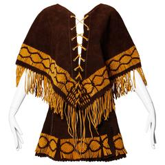 1970s Vintage Hand Made Suede Leather Cape + Skirt Ensemble with Fringe Trim