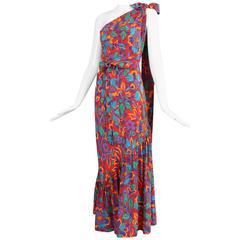 Yves Saint Laurent Silk Bias Cut Floral Print Asymmetric Gown