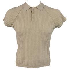 PRADA Men's Size M Beige Rib Textured Cotton Raglan Sleeve POLO