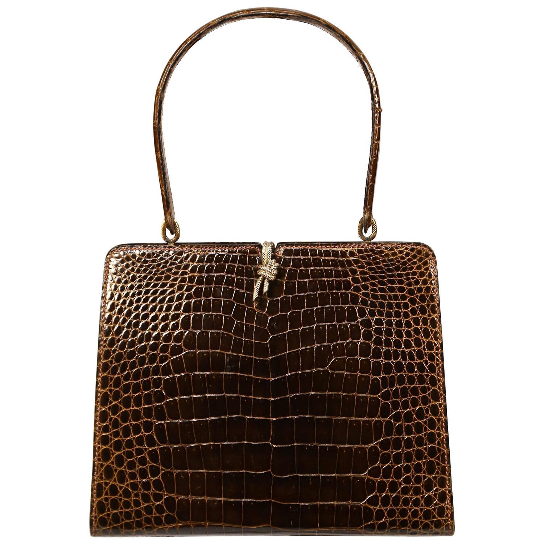 replica hermes bags - 1960's LOEWE brown crocodile leather top handle bag with gilt ...