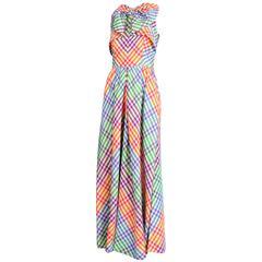 1970's Geoffrey Beene Multicolored Taffeta Plaid Dress w/Oversized Bow