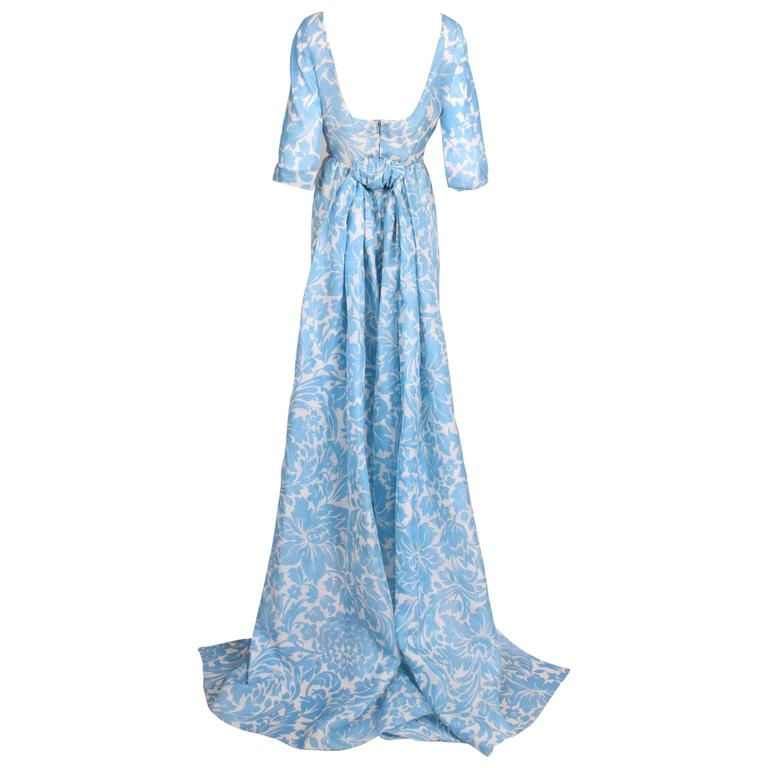 Pauline Trigere Blue & White Floral Linen Evening Gown w/Long Train For Sale