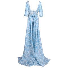 Pauline Trigere Blue & White Floral Linen Evening Gown w/Long Train
