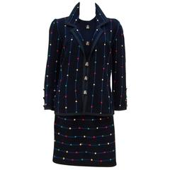 c.1980 Whimsical Adolfo Logo Knit Cardigan Dress Suit
