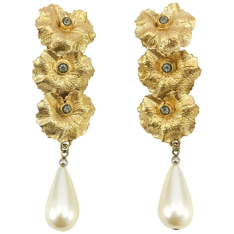 Henry Perichon Leaves and Pearl Drop Earrings - 1950s 1